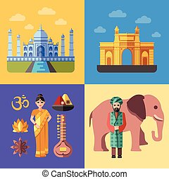 India flat traveling concepts vector set