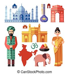 India flat vector icons with national landmarks for traveling concept