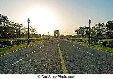 India Gate in sunset, Delhi, India