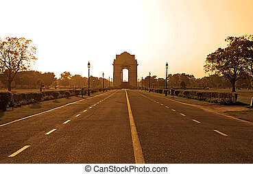 India Gate in sunset, Delhi, India. Sepia