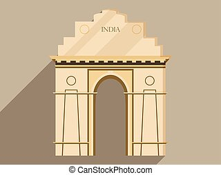 India gate isolation on a white background. Symbol of India, New Delhi. Illustration in a flat design with long shadow. Vector.