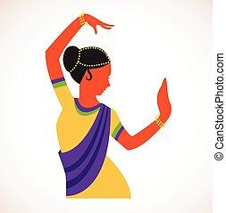 India girl wearing traditional clothing dancing Indian dance...