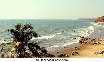 India Goa Vagator beach February 20, 2013. Seaside panorama...