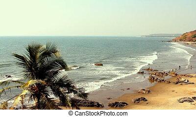 India Goa Vagator beach February 20, 2013. Seaside panorama...