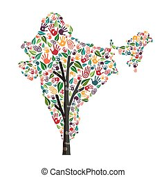 India hand print tree symbol for world help