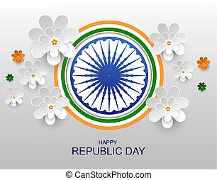 India Happy republic day greeting card paper flower
