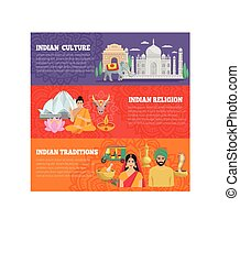 India Horizontal Banners Set