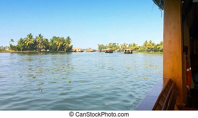 India. Houseboat on Kerala backwaters - India Houseboat on...