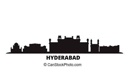 India, Hyderabad city skyline isolated vector illustration. India, Hyderabad travel black cityscape