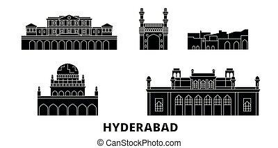 India, Hyderabad flat travel skyline set. India, Hyderabad black city vector illustration, symbol, travel sights, landmarks.