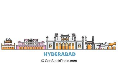 India, Hyderabad line cityscape, flat vector. Travel city landmark, oultine illustration, line world icons