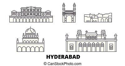 India, Hyderabad line travel skyline set. India, Hyderabad outline city vector illustration, symbol, travel sights, landmarks.
