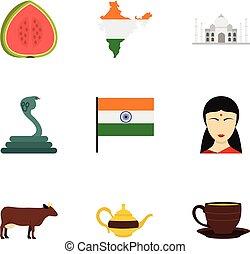 India icon set, flat style