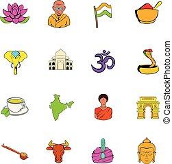 India icons set cartoon