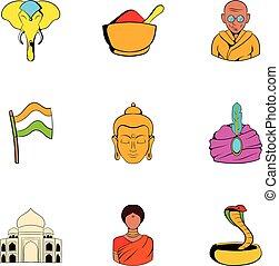 India icons set, cartoon style