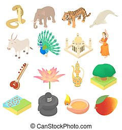 India icons set, isometric 3d style