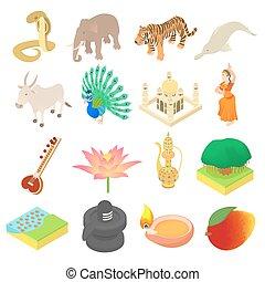 India icons set, isometric 3d style