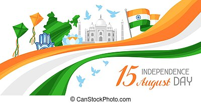 India Independence Day banner. Celebration 15 th of August