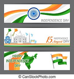 India Independence Day banners. Celebration 15 th of August