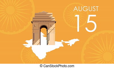 india independence day celebration with arch monument ,4k video animated