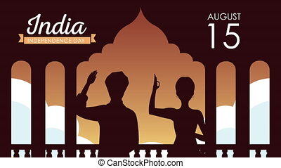 india independence day celebration with couple silhouette ,4k video animated