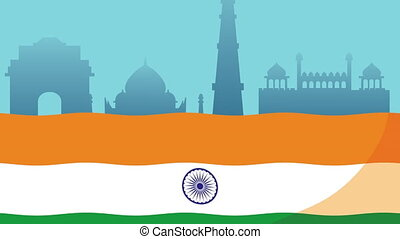 india independence day celebration with flag and monuments ,4k video animated