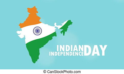 india independence day celebration with flag in map ,4k video animated