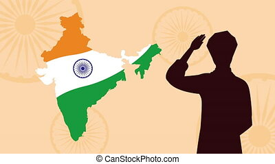 india independence day celebration with flag in map and man silhouette ,4k video animated