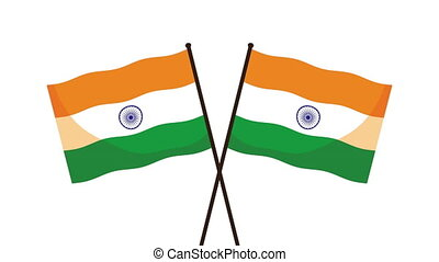 india independence day celebration with flags ,4k video animated