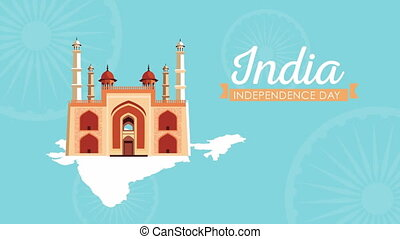 india independence day celebration with lettering and monument ,4k video animated