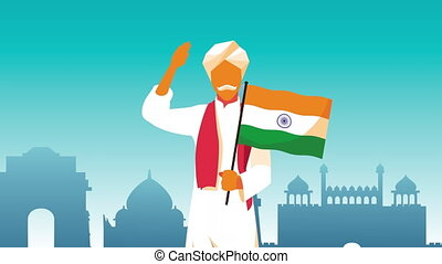 india independence day celebration with man and flag ,4k video animated
