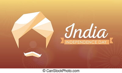 india independence day celebration with man figure ,4k video animated