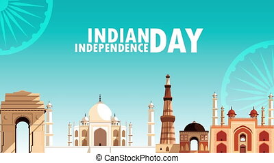 india independence day celebration with monuments ,4k video animated