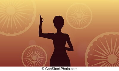 india independence day celebration with woman ,4k video animated