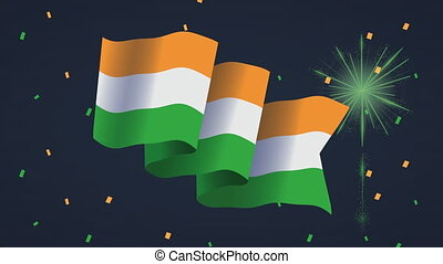 india independence day with flag and fireworks ,4k video animation