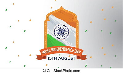 india independence day with flag decorative emblem ,4k video...