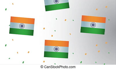 india independence day with flags decoration pattern ,4k video animation