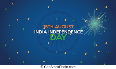 india independence day with lettering and fireworks ,4k video animation