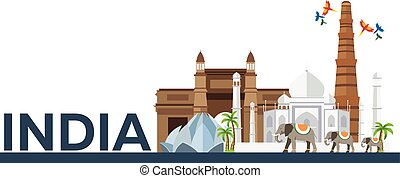 India. Indian architecture. Tourism. Travelling illustration India. Modern flat design. Taj mahal, Lotus temple, gateway of India, Qutab Minar. Indian skyline.