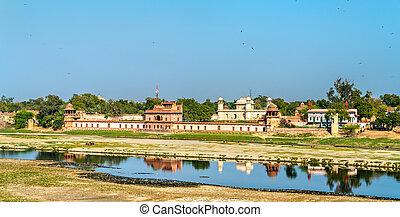 india, itimad-ud-daulah, agra, yamuna, tumba, río, vista