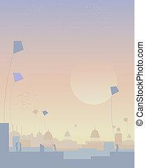 india kite festival - an illustration of a kite festival in...