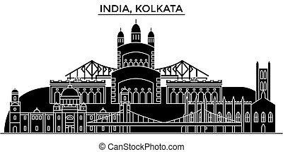 India, Kolkata architecture urban skyline with landmarks,...