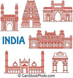 india, línea fina, señales, iconos, arquitectura