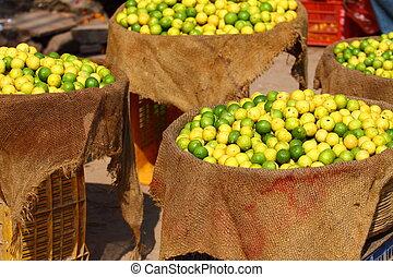 india., local, limones, mercado