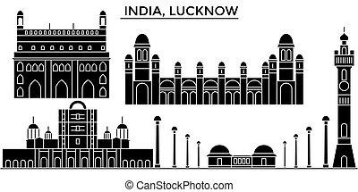 India, Lucknow architecture urban skyline with landmarks, cityscape, buildings, houses, ,vector city landscape, editable strokes