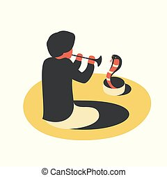 India, man playing the flute with snake cobra, white background