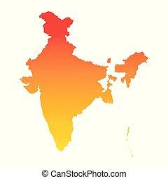 India map. Colorful orange vector illustration