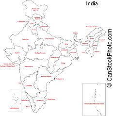 India map - Map of administrative divisions of India