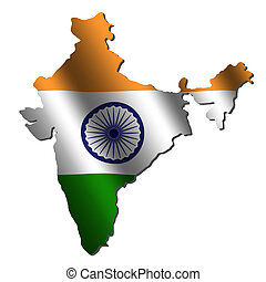 India map flag - India map with rippled flag on white...
