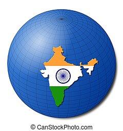 India map flag on abstract globe illustration